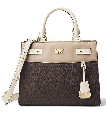 0685c7246982 Amazon.com: MICHAEL Michael Kors Reagan Medium Logo Leather Satchel Bag,  Brown Light Cream Oat: Shoes