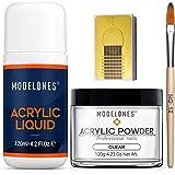 Modelones Professional Acrylic Powder Set Clear Acrylic Powder 4 oz Monomer Liquid 4 oz Acrylic Nail Forms 50pcs Acrylic…