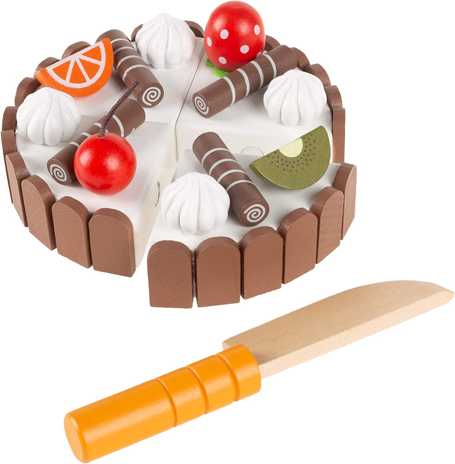 Wooden Magnet Chocolate Fruits Birthday Cake Kids Pretend Play Food Toy Fun