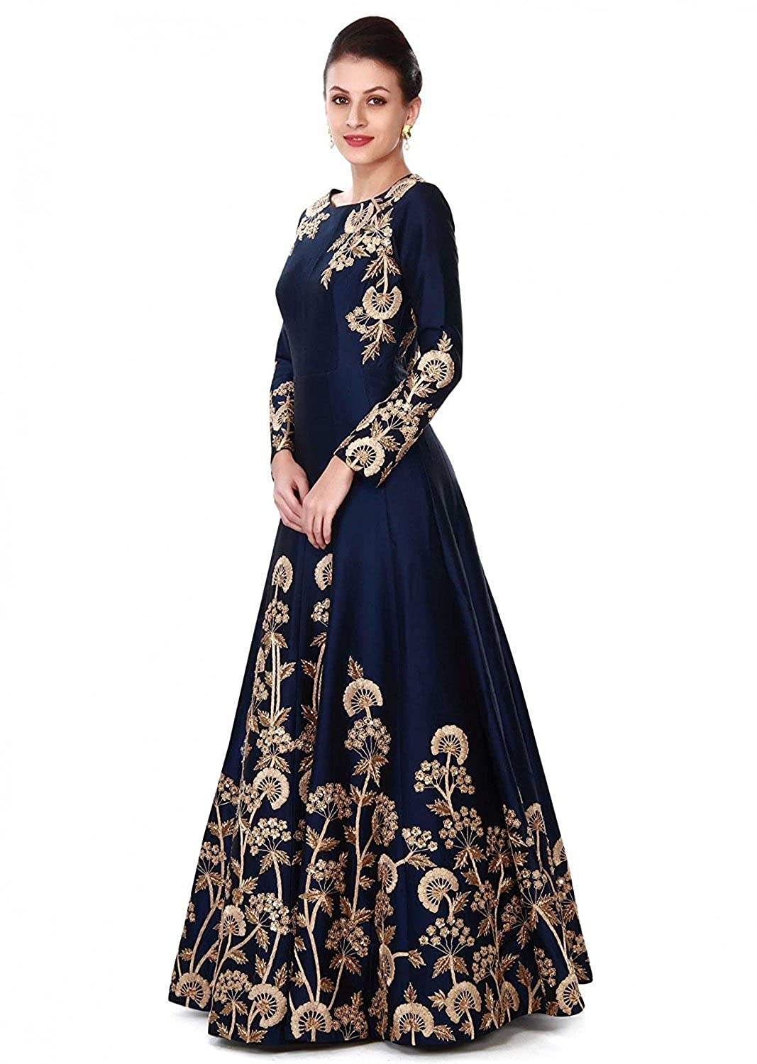 c9be24355b Ethnic Empire Women s Taffeta Silk Semi Stitched Anarkali Salwar Suits  (Eed-Ea10756 Blue Free Size)  Amazon.in  Clothing   Accessories