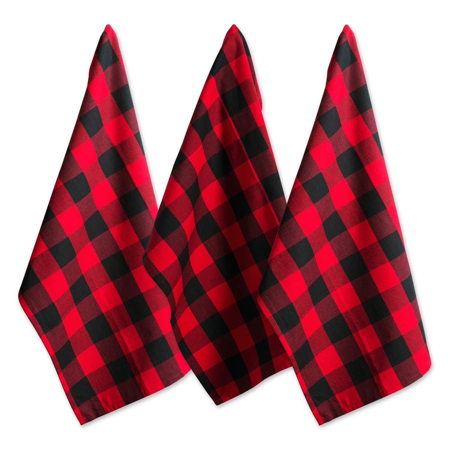 "DII Cotton Buffalo Check Plaid Dish Towels, (20x30"", Set of 3) Monogrammable Oversized Kitchen Towels for Drying, Cleaning, Cooking, & Baking - Red & Black"