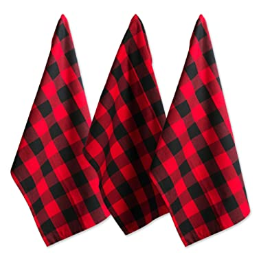 DII Cotton Buffalo Check Plaid Dish Towels, (20x30 , Set of 3) Monogrammable Oversized Kitchen Towels for Drying, Cleaning, Cooking, & Baking - Red & Black