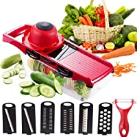 Vegetable Chopper Mandoline Slicer,6 in 1 mandoline slicer cutter chopper and grater with Hand Protector, Interchangeable Blades - for Cutting Onions, Potatoes, Carrots and Other Fruits