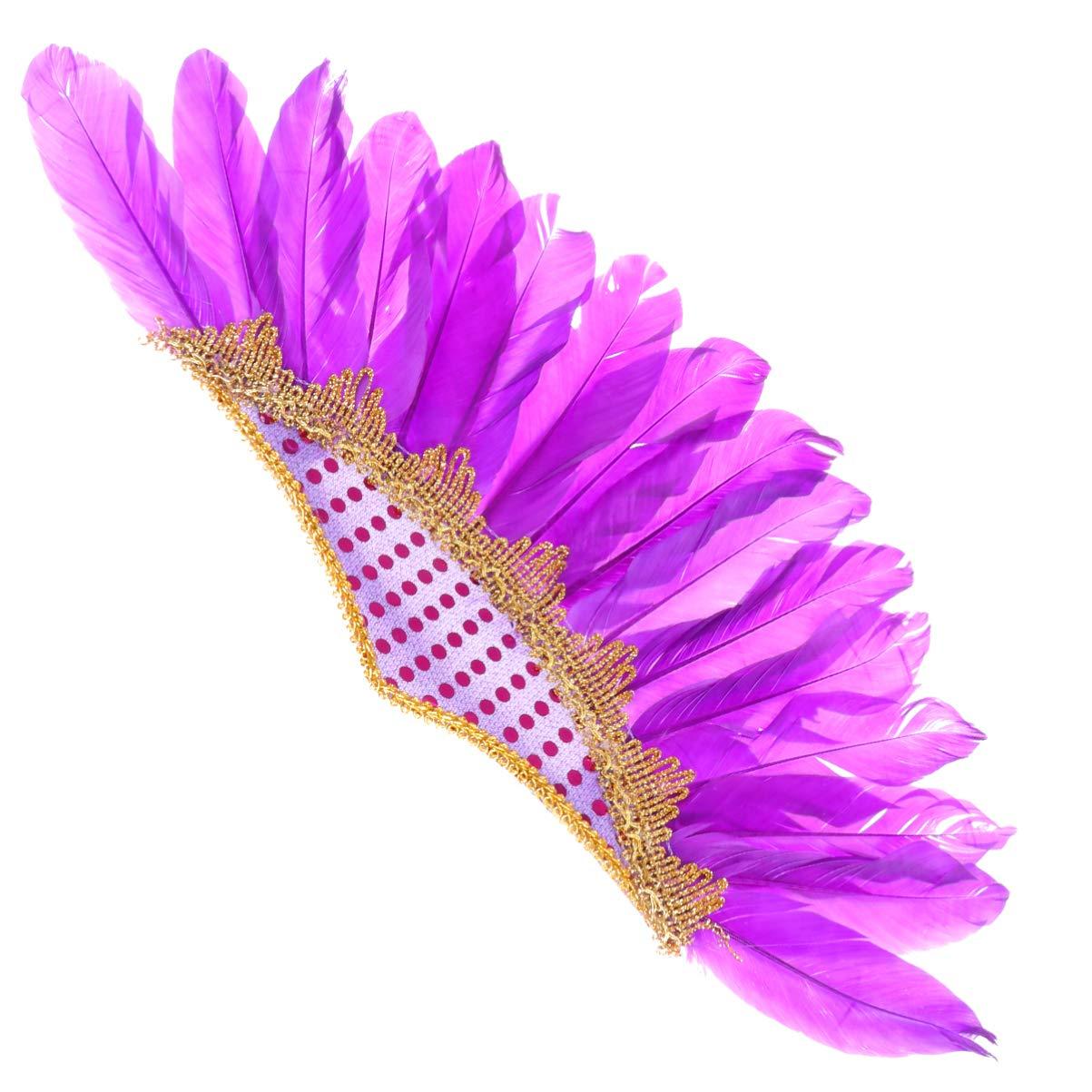 Amosfun Feather Headband Boho Gypsy Performance Hair Accessories Women Men Adults Average Size Violet