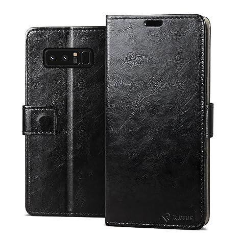 RIFFUE Funda Samsung Galaxy Note 8, Carcasa Ultrafina con Tapa Flip de Cuero Sintético + Silicona Elegante Libro con Cierre Magnético, Ranuras, Cover ...
