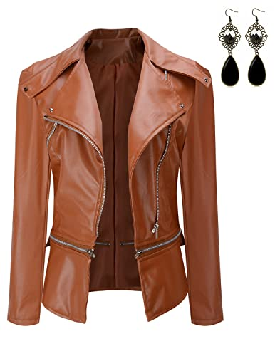 Sitengle Mujeres Chaqueta Imitación Cuero Moto Cazadoras Abrigo Slim Jacket Invierno