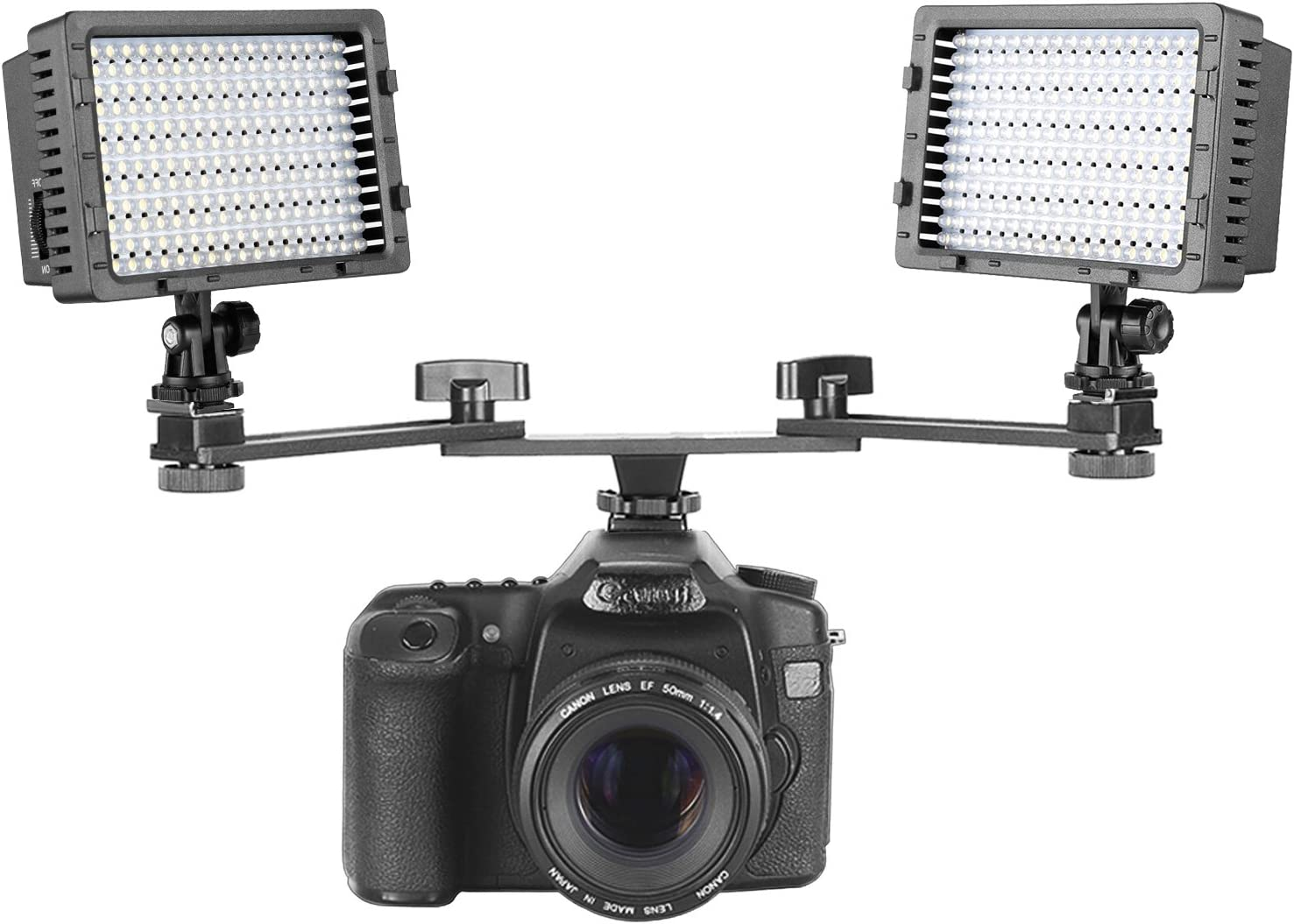 and Olympus DSLRs Nikon Pentax Neewer 2-Pack CN-160 160 LED Dimmable 5600K Ultra High Power Panel Camera Video Light with 7 inches //18 Centimeters Dual Mount Bracket Arm for Canon Sony Panasonic