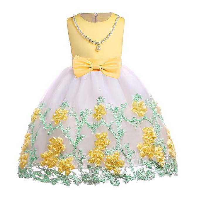 ea5ee761b Ankoee Niña Flor Princesa Vestido de Fiesta de Cumpleaños de la Boda 3-10  años  Amazon.es  Ropa y accesorios