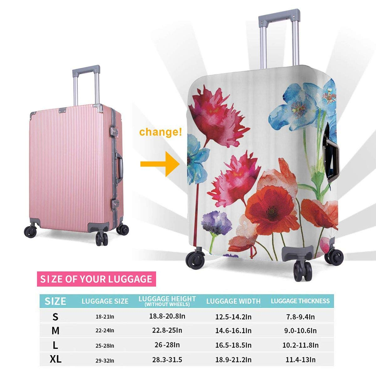 JHNDKJS Blossom Travel Luggage Cover Baggage Suitcase Protector Fit for 12-18 Inch Luggage
