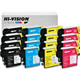 HI-VISION HI-YIELDS ® Compatible Ink Cartridge Replacement for Brother LC61 (4 Black, 4 Cyan, 4 Yellow, 4 Magenta, 16-Pack)