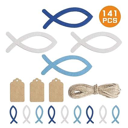 Yunde 120 Stücke Holz Fisch Deko Fische Streudeko Taufe Deko Taufe Junge Tischdeko Taufe Kommunion Konfirmation 5