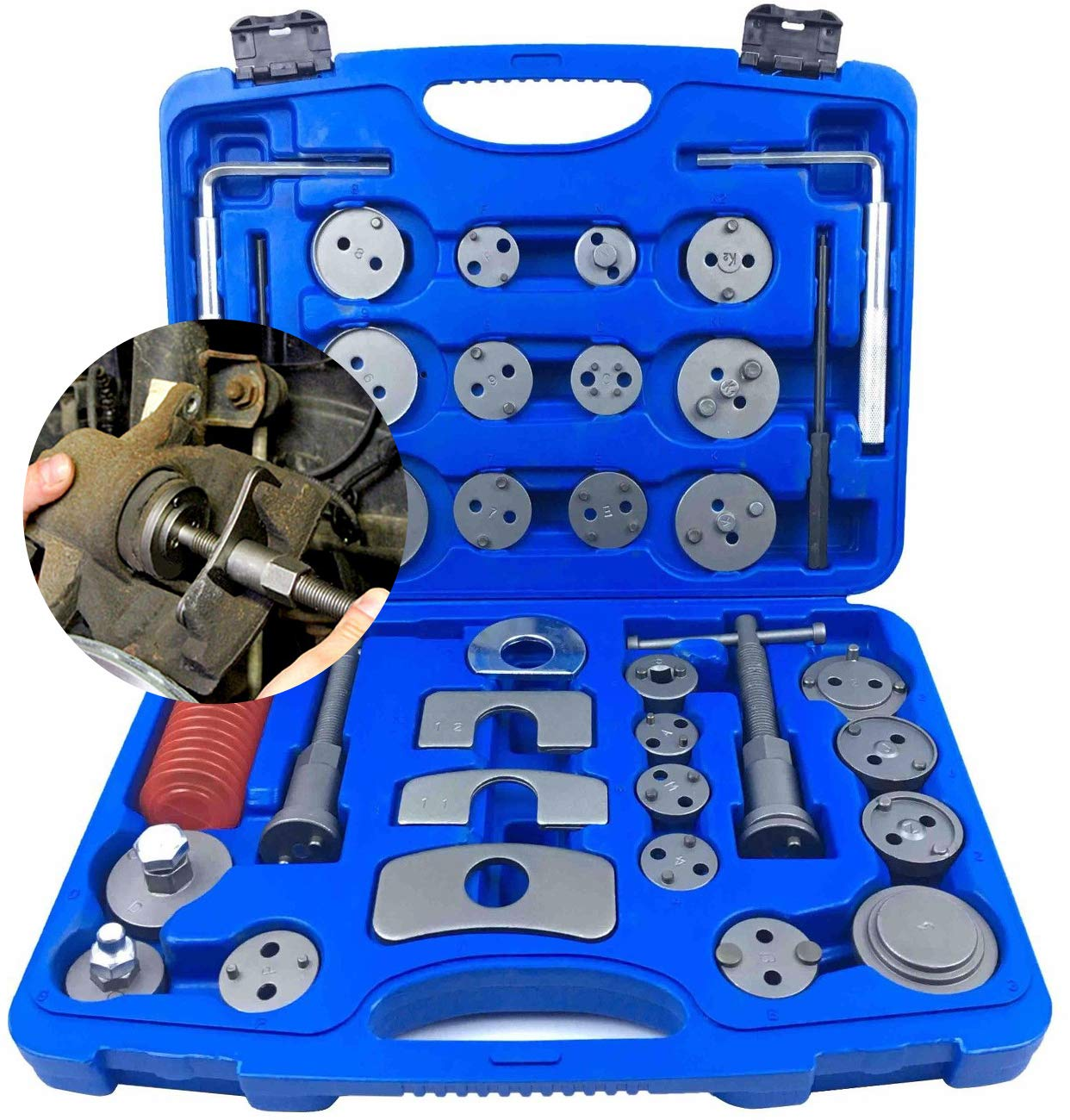 Brake Disc Caliper Wind Back Tool Kit - 35 Piece Universal Piston Rewind Set - Discs Break Pad Caliper Compressor Service Tools -