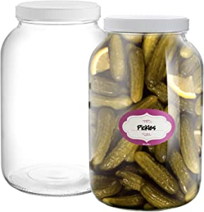 Pack of 2-1 Gallon Mason Jar - 128 Oz Glass Jars - Wide Mouth Clear Canning Jars with Air-tight Lids and Labels – Great for Pickling, Fermenting, Canning and More - Food Grade BPA Free & Dishwasher