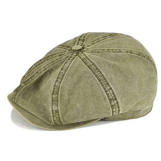 0e85f814496 VOBOOM 100% Washing Cotton Newsboy Caps Classic 8 Pannel Retro Cabbie hat  (S