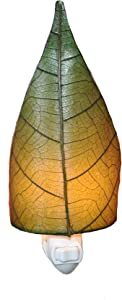 Eangee Home Design Leaf Night Light Green Shade Made from Real Cocoa Leaves 4 Inches Length x 3 Inches Width x 8 Inches Height (623 g)