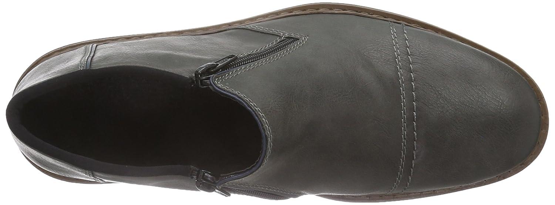 Rieker 17682 Herren (Rauch/Navy Kurzschaft Reißverschluss Stiefel Grau (Rauch/Navy Herren / 45) 84b217