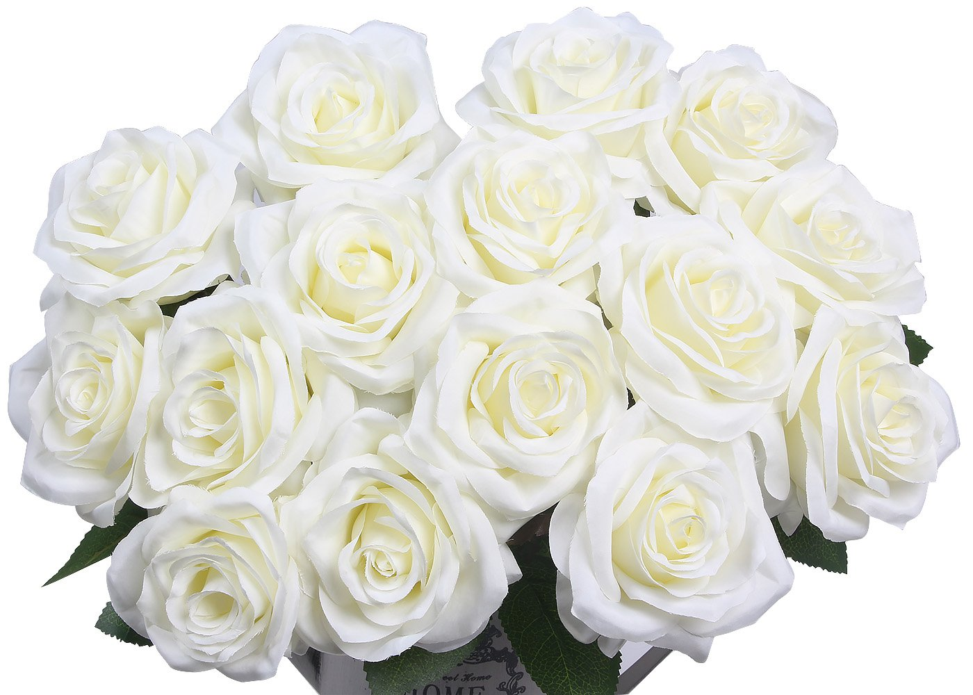 Amazon artificial flowers amyhomie silk roses bouquet home amazon artificial flowers amyhomie silk roses bouquet home wedding decoration pack of 15 15 white home kitchen izmirmasajfo