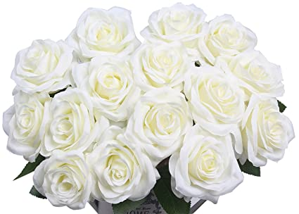 Amazon artificial flowers amyhomie silk roses bouquet home artificial flowers amyhomie silk roses bouquet home wedding decoration pack of 15 mightylinksfo