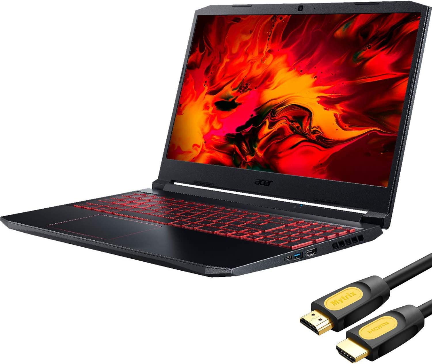 "Acer Nitro 5 AN515 Gaming Laptop, 15.6"" IPS FHD, AMD Ryzen 5 4600H (Beat i7-9750H), GTX 1650, 6 Cores up to 4.00 GHz, 16GB RAM, 512GB SSD, Backlit, RJ-45, Wi-Fi 6, Mytrix HDMI Cable, Win 10 (Renewed)"