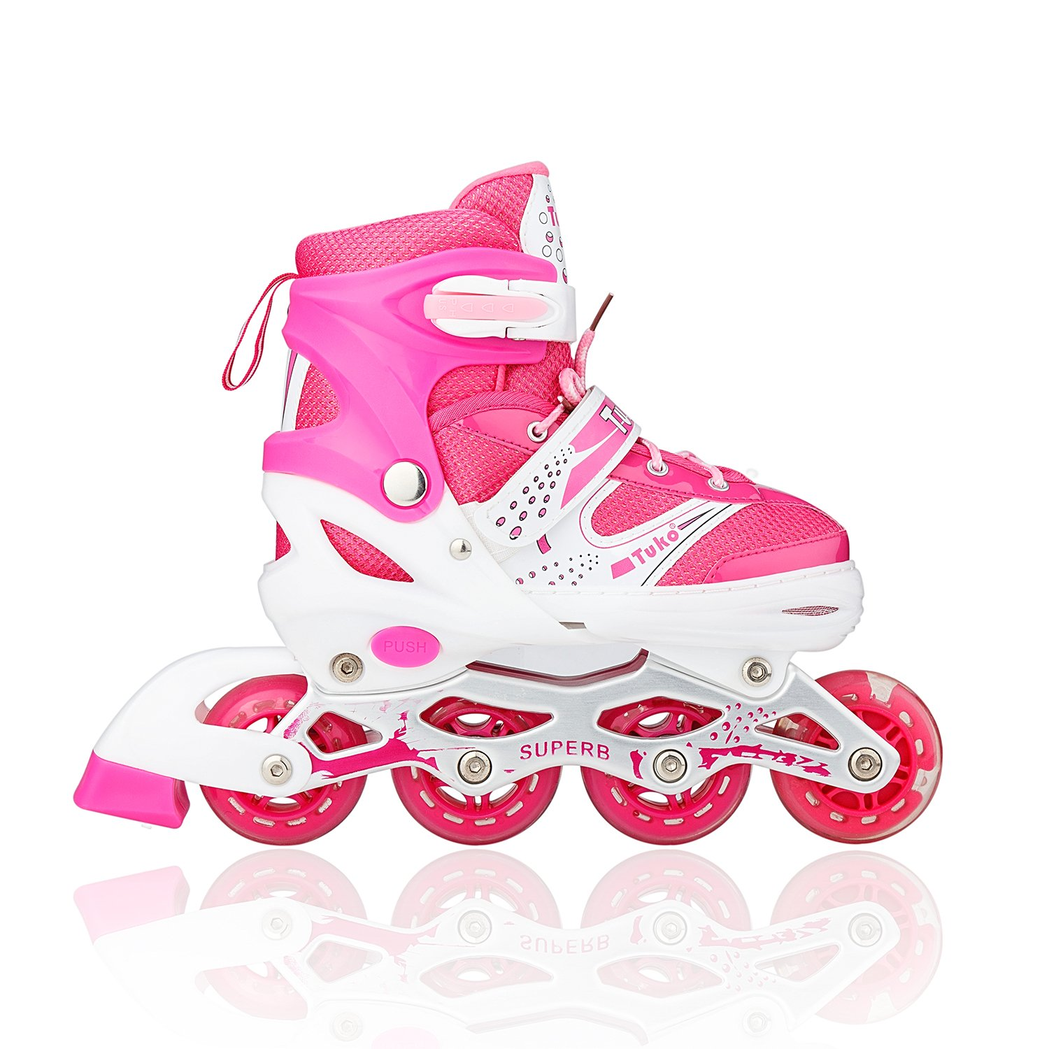 Tuko Children Adjustable Inline Skate Roler Shoes for Girl Gift (Medium/Big kids 2M/3M/4M)