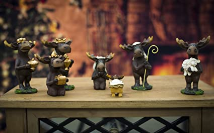 7 Piece Moose Figurines Christmas Nativity Set Home Kitchen