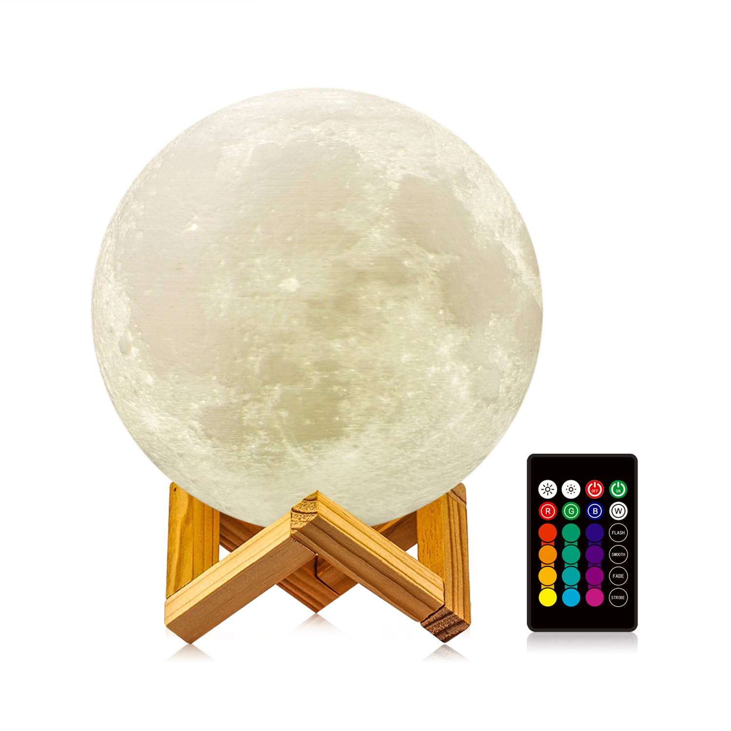 LOGROTATE Moon Lamp with Stand(Diameter 4.7 inch), 16 Colors 3D Print Moon Light with Remote & Touch Control and USB Recharge, Moon Light Lamps for Baby Kids Lover Birthday Fathers Day Gifts