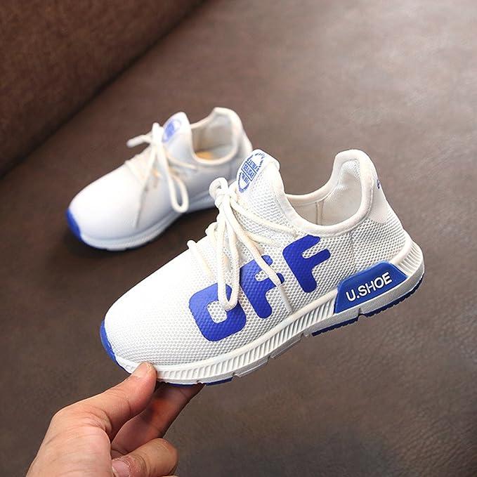 YanHoo Niños pequeños Deportes para niños Zapatos para Correr para niños Malla Suela Blanda Zapatillas de Deporte Malla de los niños de la Letra de Tela Zapatillas de Deporte Zapatos Casuales: Amazon.es: