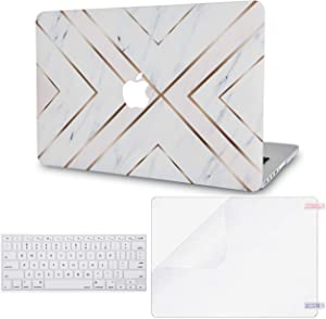 """LuvCase 3 in 1 LaptopCase forMacBookMacBook Pro 12"""" Retina A1534HardShellCover, Keyboard Cover & Screen Protector(White Marble Gold Stripes)"""