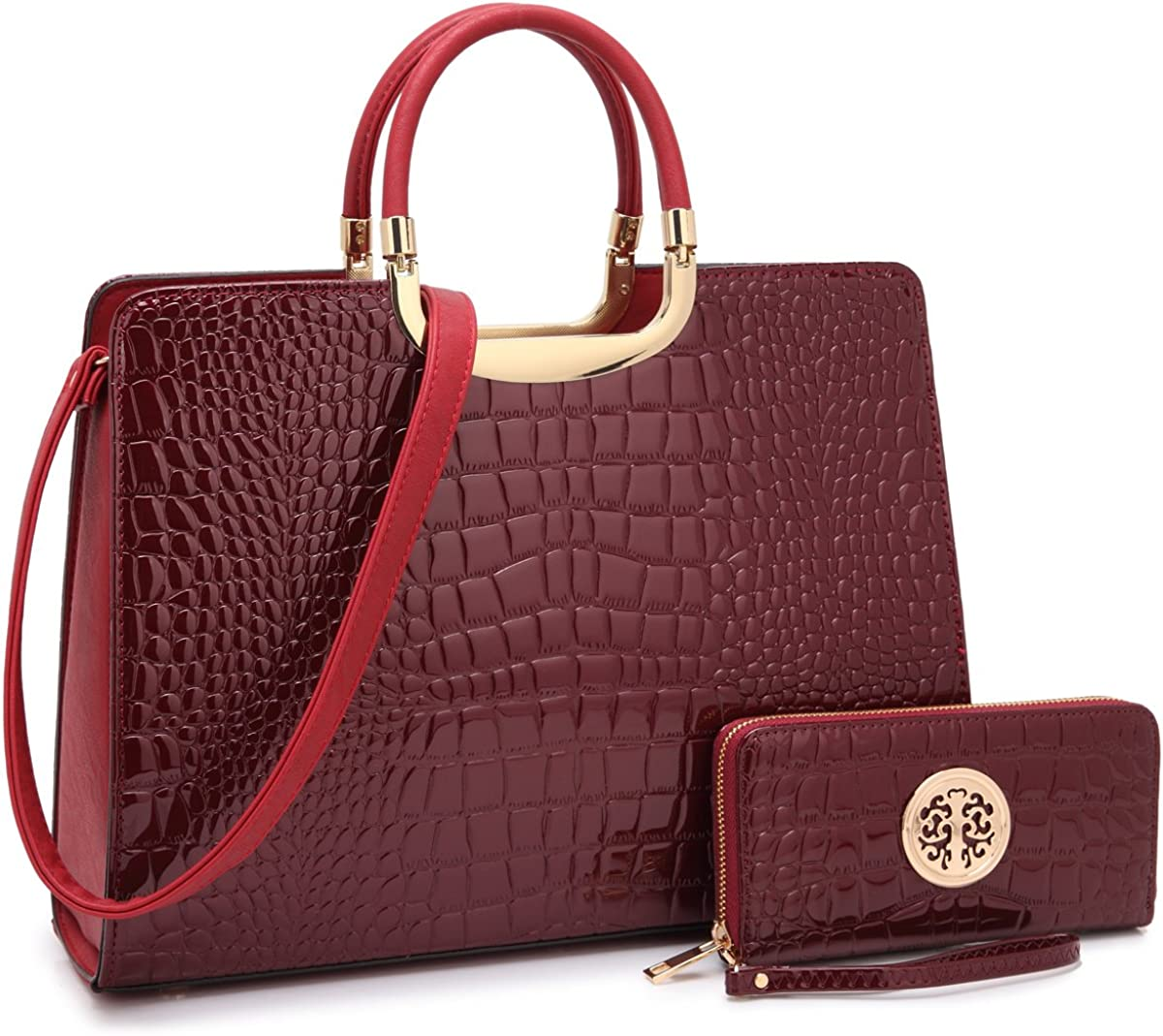 MKP Collection Beautiful Croco Leather Briefcase Computer Laptop Bag for Women Handbags Top Handle Satchel Purse Business Bag