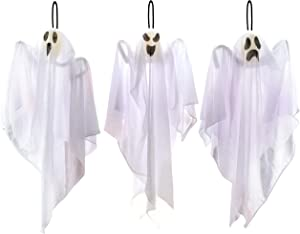 "JOYIN 3 Pack Halloween Party Decoration 25.5"" Hanging Ghosts, Cute Flying Ghost for Front Yard Patio Lawn Garden Party Décor and Holiday Decorations"