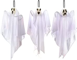 """3 Pack Halloween Party Decoration 25.5"""" Hanging Ghosts, Cute Flying Ghost for Front Yard Patio Lawn Garden Party Décor and Holiday Decorations"""