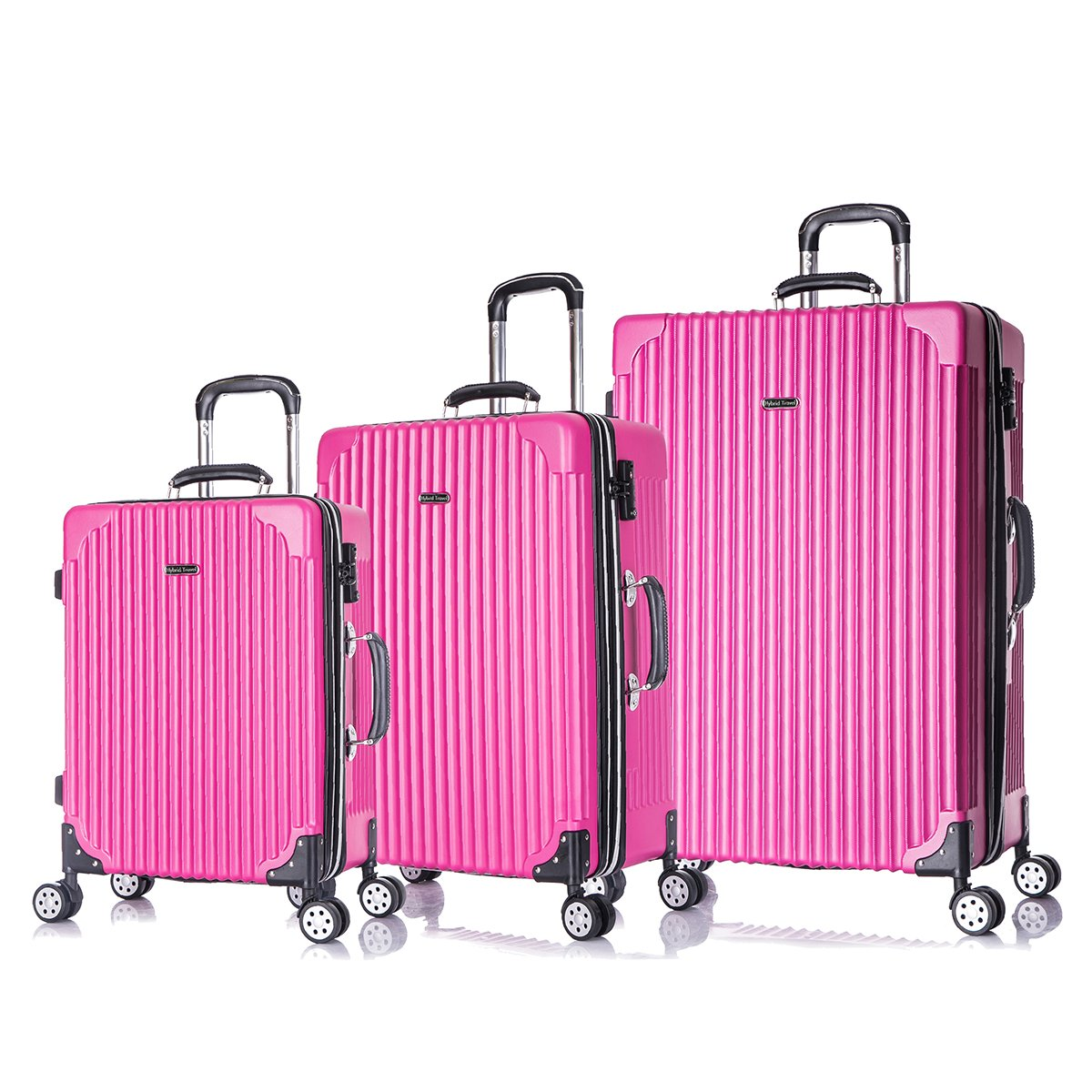 3 PC Luggage Set Durable Phone Charge Feature Suitecase LUG3 LY69 HOT PINK