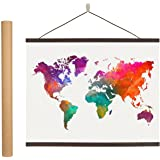 Earthabitats Magnetic Poster Hanger Frame - 24 inches Wooden Magnetic Poster Frame Hanger for Scratch Off Maps, Prints…