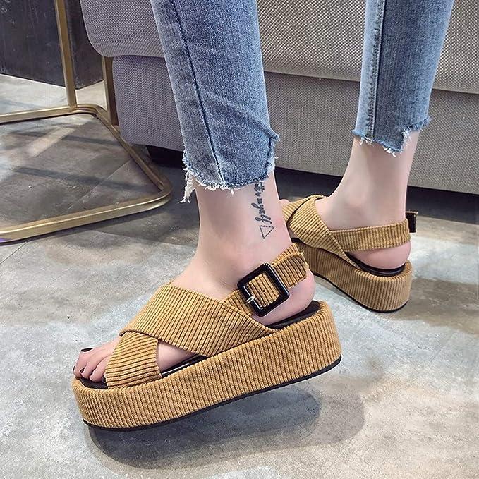Amazon.com: Zapatos de verano con hebilla de tela para mujer ...