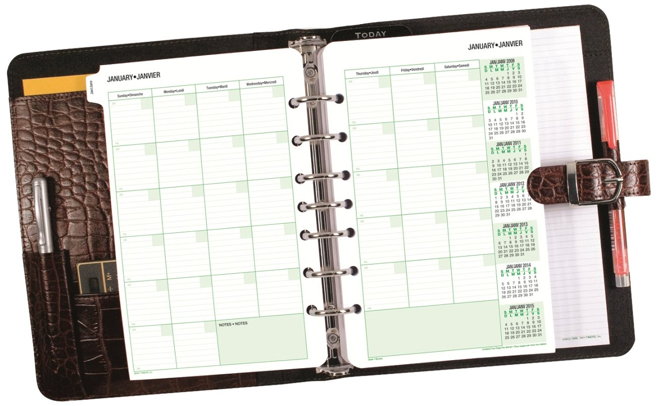 Day-Timer 6719968173 Croc Bonded Leather Refillable Day Planner-Undated, 7-Ring Fixture, 8.3x9.5-Inch, Walnut