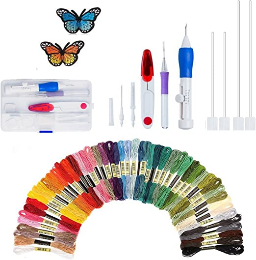 Embroidery Pen Set PERTTY Embroidery Threaders Knitting Sewing Tool Embroidery Pen Punch Needle DIY Craft Tool Including 50 Color Threads Set