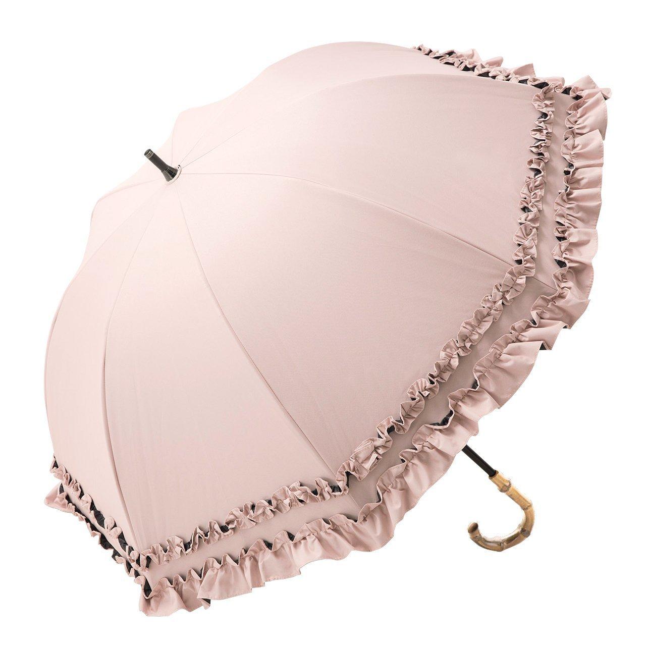 【Rose Blanc】100%完全遮光 日傘 ダブルフリル ショートサイズ プレーン 50cm (ピンク) B07C2P1PR6 ピンク ピンク