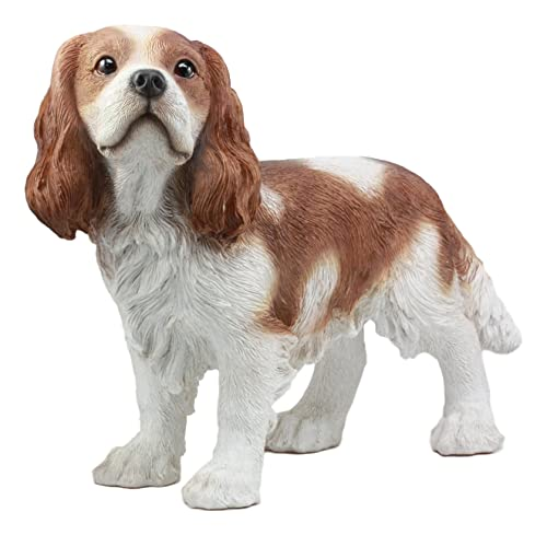 Ebros Large Lifelike Realistic Adorable Cavalier King Charles Spaniel Dog Statue 16 Long Fine Pedigree Dog Breed Collectible Decor with Glass Eyes