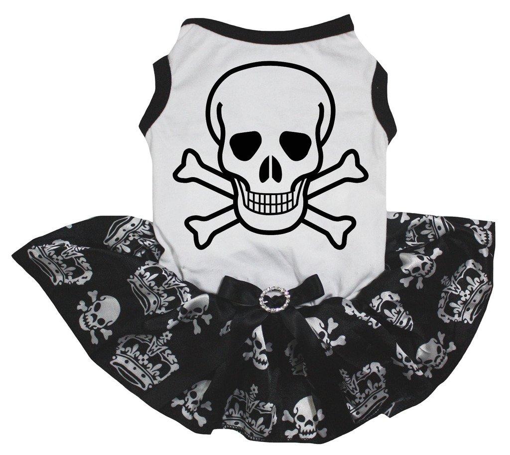 Petitebella Cross Bone White Shirt Black Skulls Crowns Tutu Puppy Dog Dress (Small)