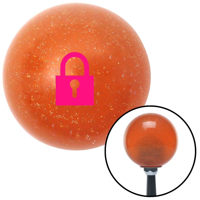Pink Locked Lock American Shifter 42725 Orange Metal Flake Shift Knob with 16mm x 1.5 Insert