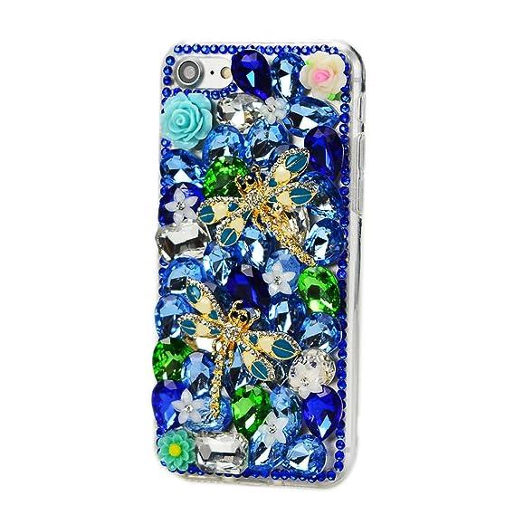 d665dc4cf3d STENES iPhone 8 Plus Case - 3D Handmade Luxury Series Crystal Dragonfly  Rose Flowers Sparkle Rhinestone