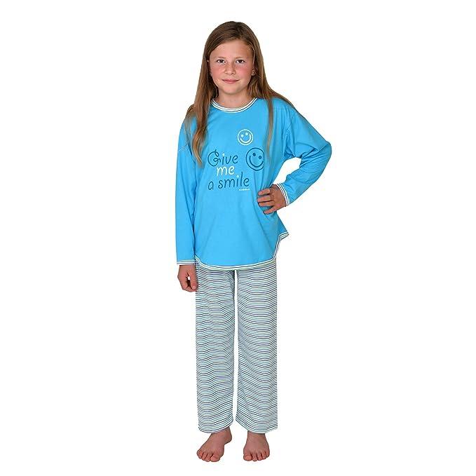 Pijamas para chicas Smile manga larga color azul-agua tallas 116-176: Amazon.es: Ropa y accesorios