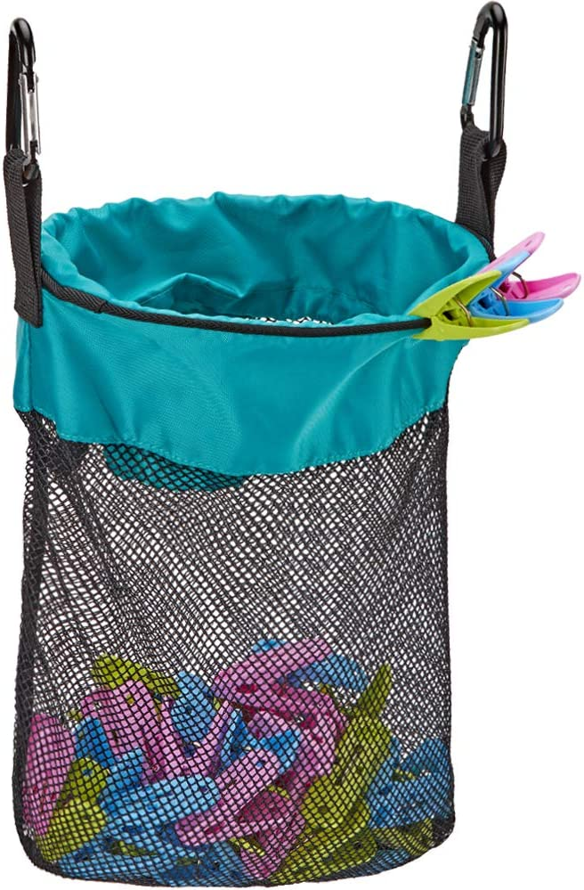 HOMEST Mesh Clothespin Bag, Hanging Clothes Pin Bag with Drawstring, Storage Organizer with Hook, Machine Washable, Sky Blue, (Patent Pending)