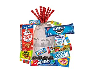 Snack Mountain Treat Candy Care Package Gift with Caramel Popcorn, Gummies, Candies, Cookies, Granola Bars and Bubble Gum
