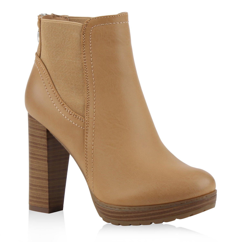 Stiefelparadies Damen Stiefeletten High Heels mit Blockabsatz Profilsohle Flandell Hellbraun