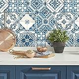 RoomMates RMK11083WP - Papel pintado, diseño de azulejos mediterráneos, 52 x 40 cm, color azul