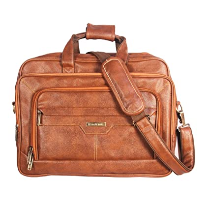 Handcuffs Leather 17 inch Rust Messenger Laptop Bag for Men