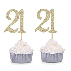 Giuffi Set of 24 Golden Number 21 Cupcake Toppers 21st Birthday Celebrating Party Decors