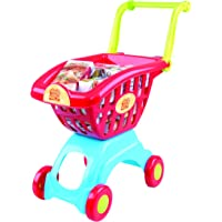 PlayGo Lightweight Shopping Cart Toy 18 Pc Set with Adjustable Handle Pretend Play for Toddler Kids Age 3 Years & Up