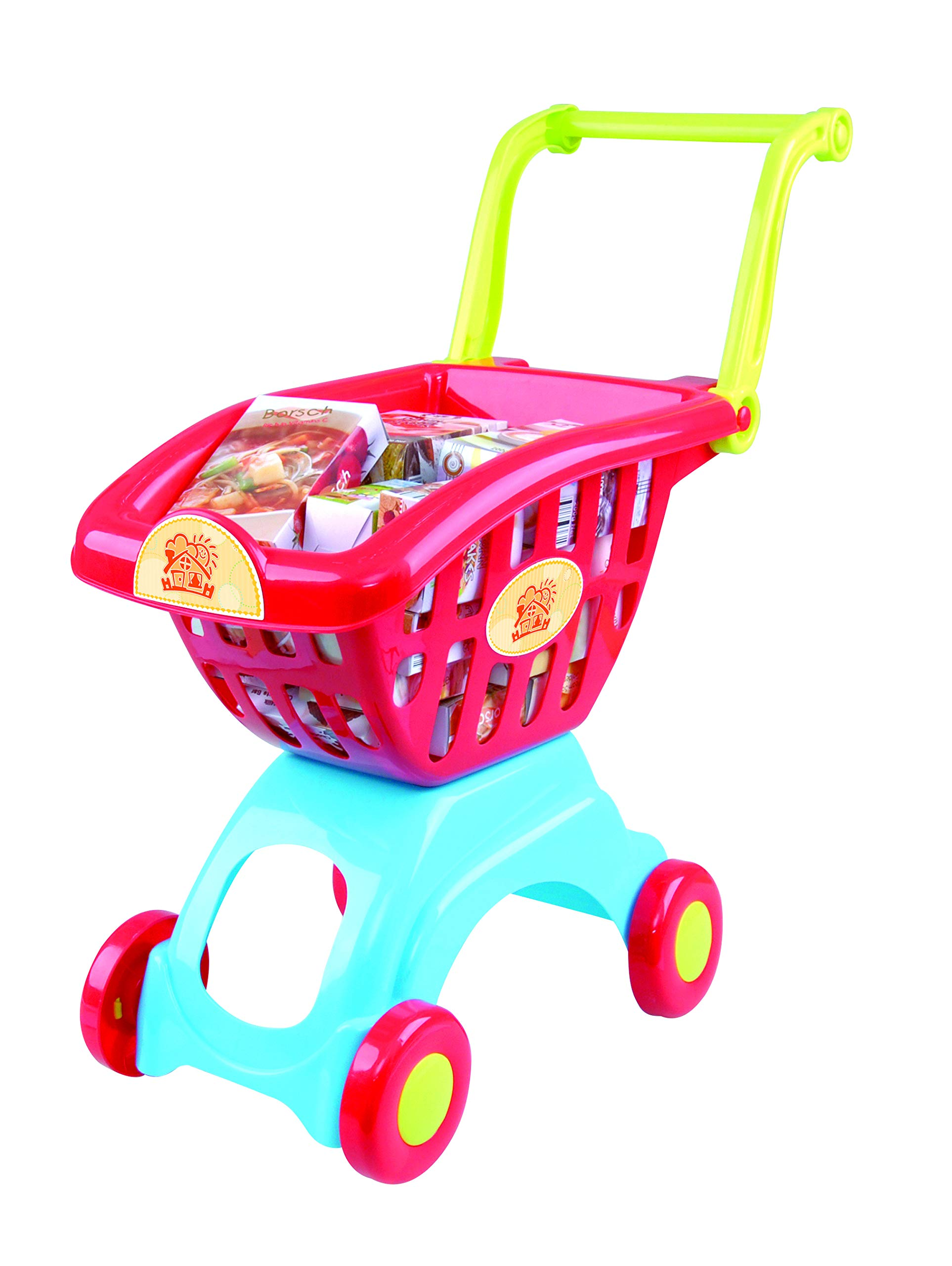 PlayGo Lightweight Shopping Cart Toy 18 Pc Set with Adjustable Handle Pretend Play for Toddler Kids Age 3 Years & Up by PlayGo